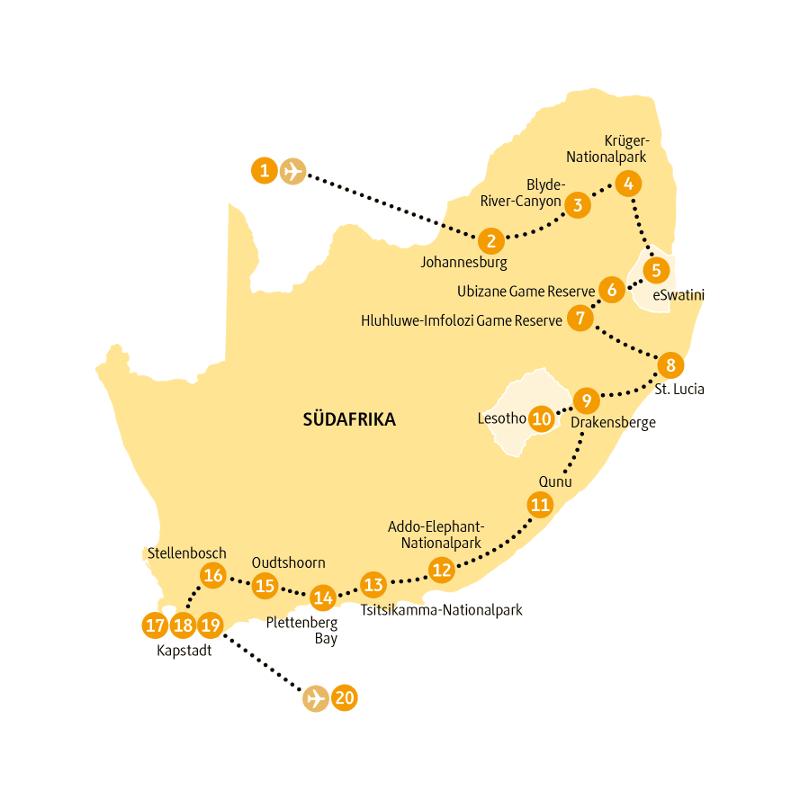 Südafrika: Karte und Tourenverlauf Panorama – Rundreise mit Safari und kurzen Wanderungen