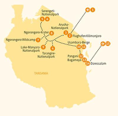 Tansania: Karte und Tourenverlauf Safari-Reise Usambara-Berge