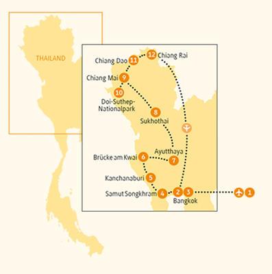 China: Karte und Tourenverlauf Kulturrundreise
