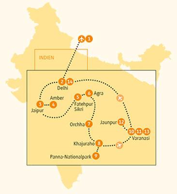 Indien: Karte und Tourenverlauf Heilige Städte am Ganges und Agra