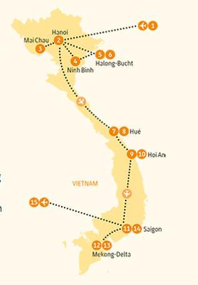 Kambodscha: Karte und Tourenverlauf Höhepunkte von Halong bis zum Mekongdelta