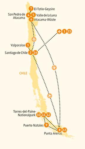 Argentinien: Karte und Tourenverlauf Naturrundreise