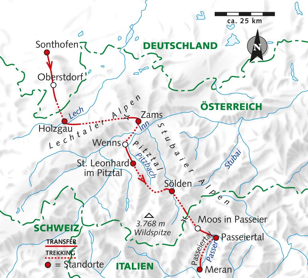Spanien: Karte und Tourenverlauf E5 Alpen-Überquerung