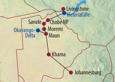 Botswana: Karte und Tourenverlauf Camping-Safari im Okavango-Delta