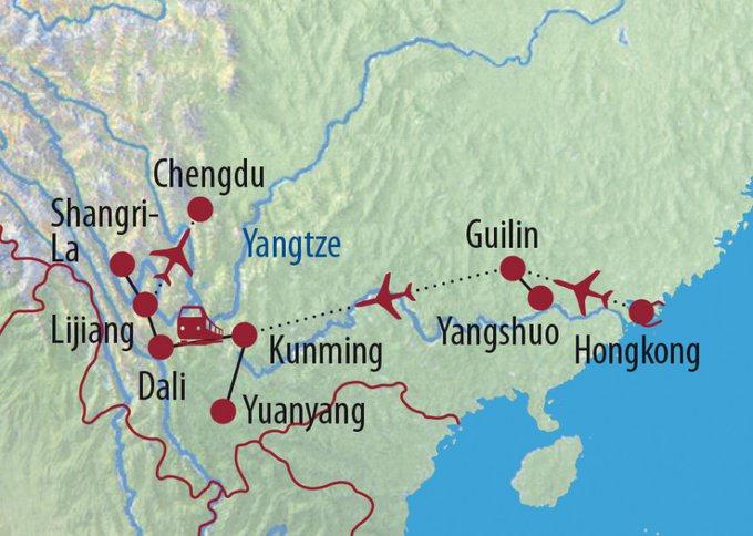China: Karte und Tourenverlauf Trekking-Reise Yangtze