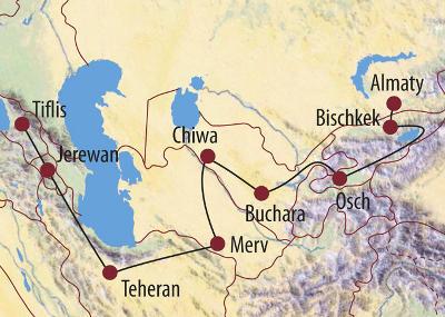 Mongolei: Karte und Tourenverlauf Zentralasien Rundreise