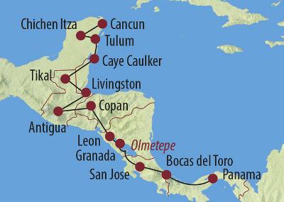Belize: Karte und Tourenverlauf Mittelamerika Rundreise