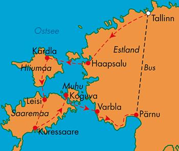 : Karte und Tourenverlauf Fahrradreise Estland individuell