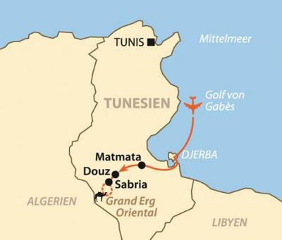 Ägypten: Karte und Tourenverlauf Kameltrekking in den Sanddünen der Sahara