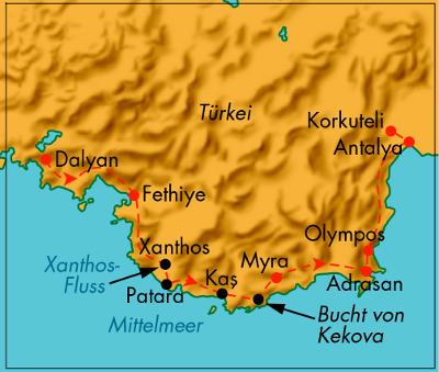Türkei: Karte und Tourenverlauf Radtour Lykien
