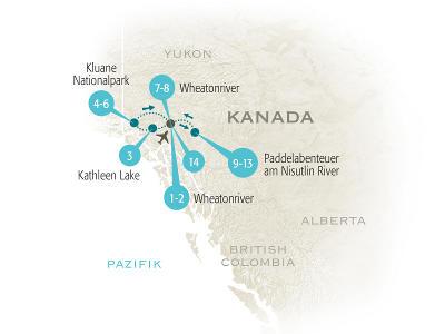 Deutschland: Karte und Tourenverlauf Familienreise Yukon