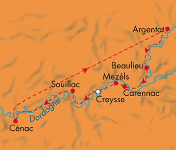 Schweden: Karte und Tourenverlauf Kanutour auf der Dordogne