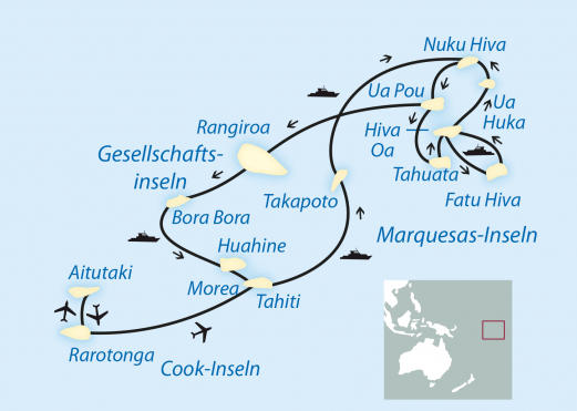 Kanada: Karte und Tourenverlauf Kreuzfahrt Tuamotus und Marquesas