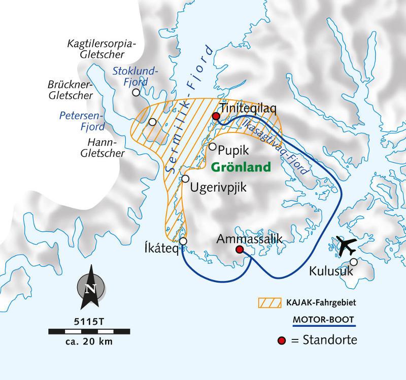Grönland: Karte und Tourenverlauf Kajak-Tour Ostgrönland