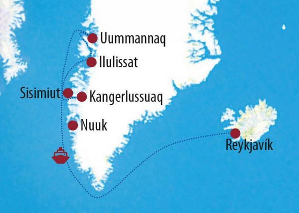 Grönland: Karte und Tourenverlauf Expeditions-Kreuzfahrt Südgrönland & Diskobucht