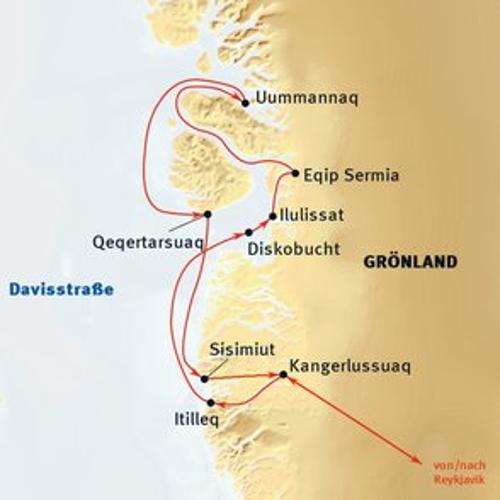 Grönland: Karte und Tourenverlauf Expeditions-Kreuzfahrt Westgrönland
