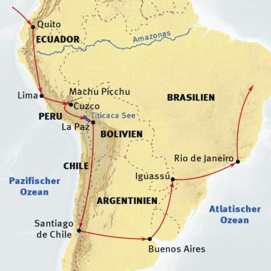 """Brasilien: Karte und Tourenverlauf """"Kleine"""" Südamerika-Rundreise"""