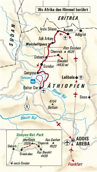 Äthiopien: Karte und Tourenverlauf Trekking- und Kulturreise im Hochland