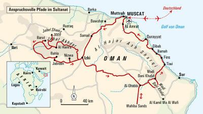Oman: Karte und Tourenverlauf Wanderreise Oman