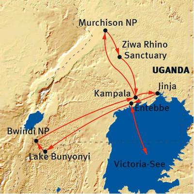 : Karte und Tourenverlauf Safari-Reise Uganda (kurze Variante)