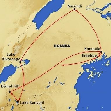 : Karte und Tourenverlauf Safari-Reise Uganda