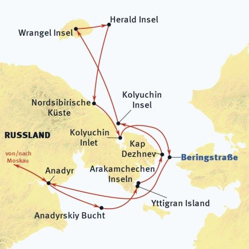 Russland (Asien): Karte und Tourenverlauf Kreuzfahrt-Expedition zur Wrangel-Insel