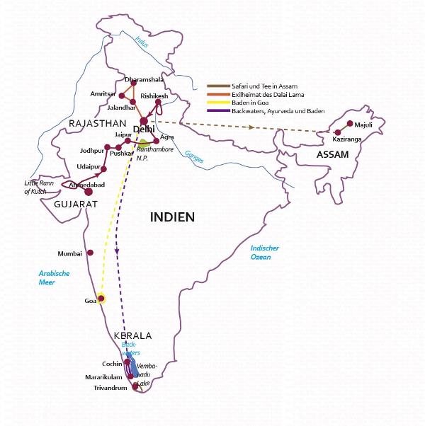 Indien: Karte und Tourenverlauf Wüsten und Paläste Rajasthans