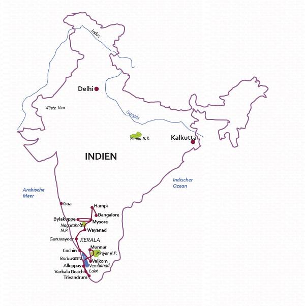 Indien: Karte und Tourenverlauf Natur- und Kultur-Rundreise Südindien