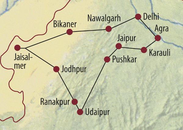 Indien: Karte und Tourenverlauf Rundreise Rajasthan