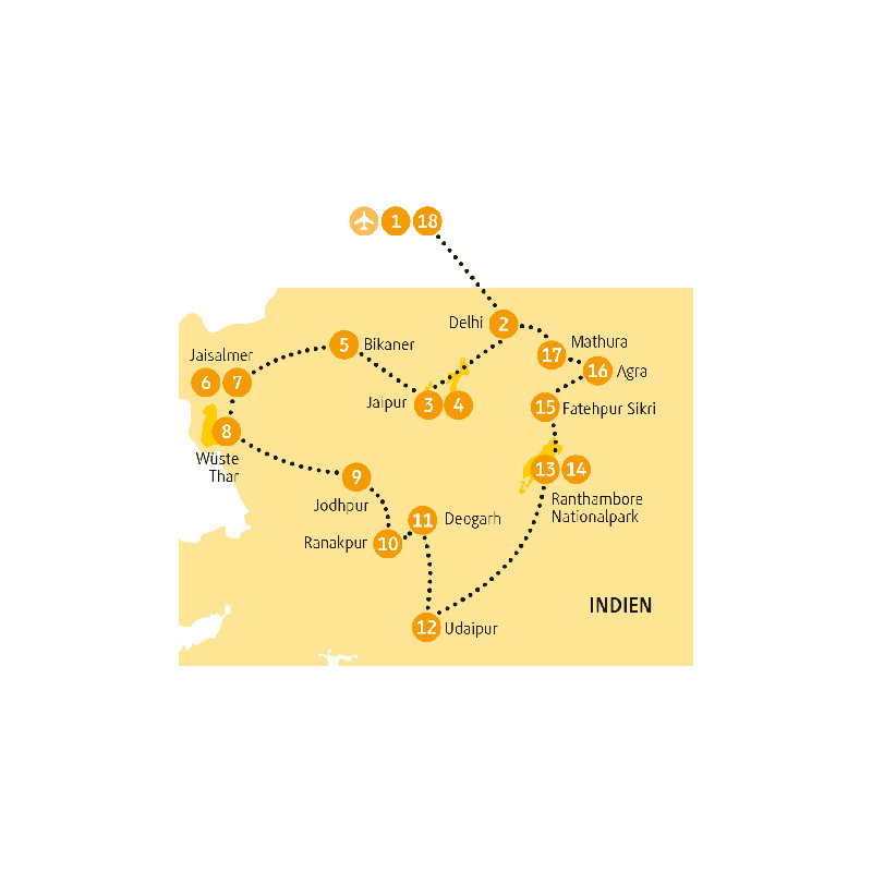 Indien: Karte und Tourenverlauf Farbenfrohes Rajasthan