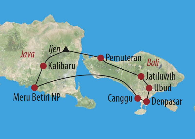 Indonesien: Karte und Tourenverlauf Kultur- und Natur-Reise Bali und Java