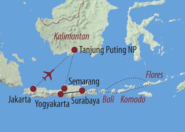 Indonesien: Karte und Tourenverlauf Rundreise Indonesien