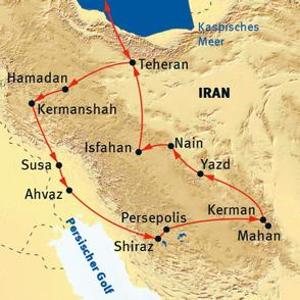 : Karte und Tourenverlauf Kultur und Architektur im Iran