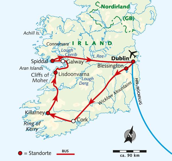 Island: Karte und Tourenverlauf Wanderreise Irland