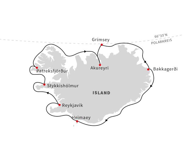 Grönland: Karte und Tourenverlauf Expeditions-Kreuzfahrt rund um Island