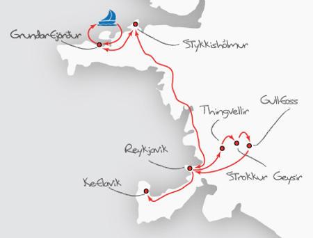 Island: Karte und Tourenverlauf Orcas, Nordlichter & Golden Circle