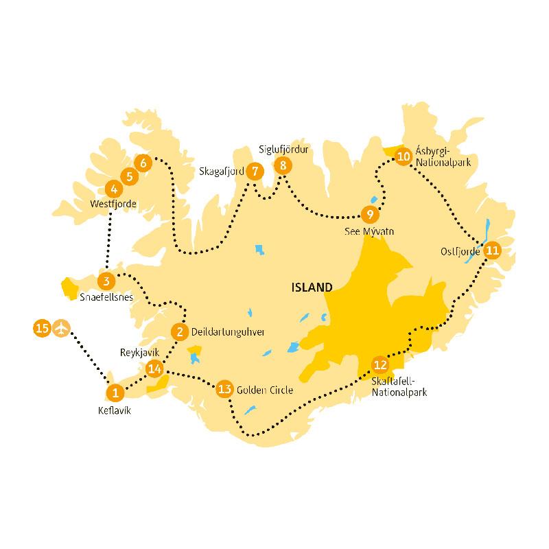 Island: Karte und Tourenverlauf Rundreise entlang der Ring-Route