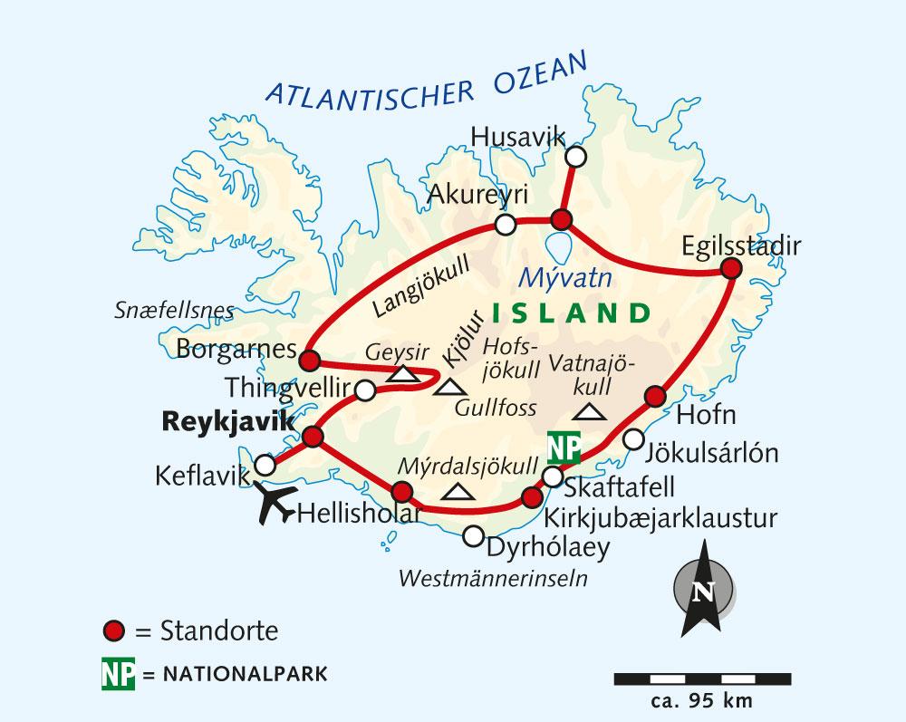 Island: Karte und Tourenverlauf Wanderungen im Hochland Islands