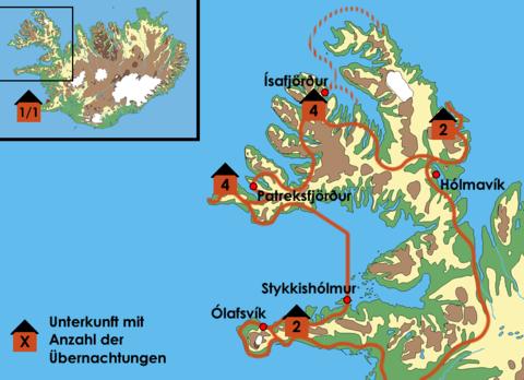 Island: Karte und Tourenverlauf Zu den einsamen Westfjorden