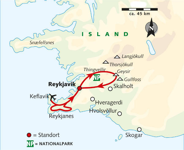 Island: Karte und Tourenverlauf Island Winterreise