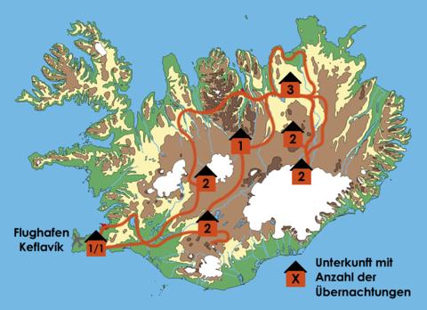 Island: Karte und Tourenverlauf Wanderungen im Zentralhochland