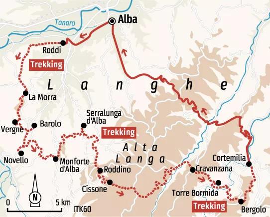 Spanien: Karte und Tourenverlauf Genuss-Wandern im idyllischen Piemont