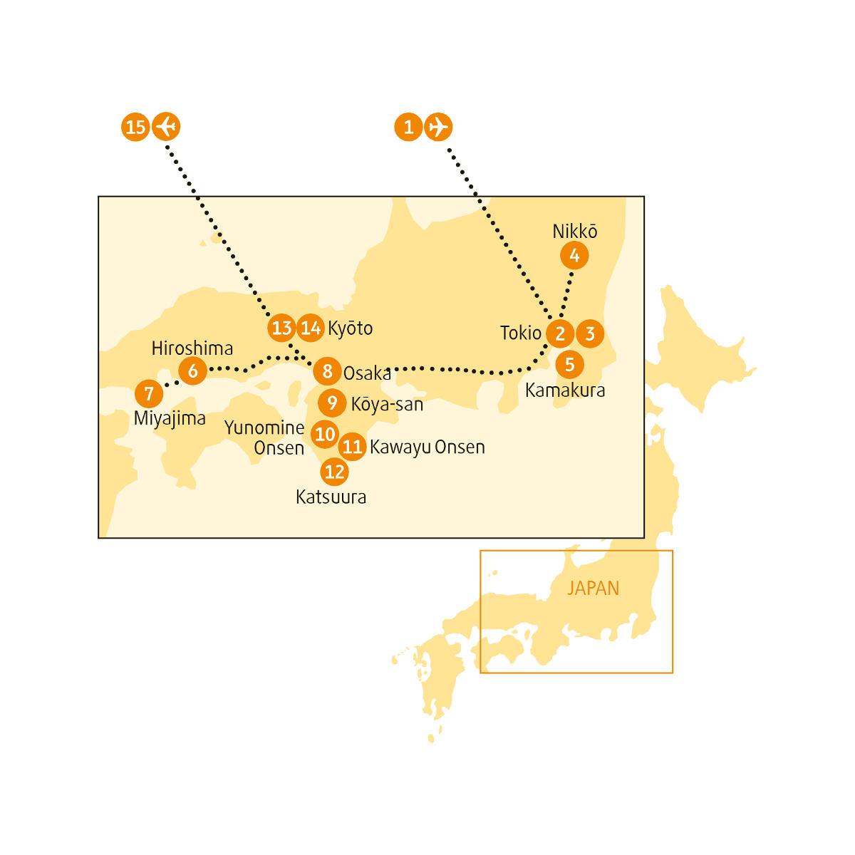 : Karte und Tourenverlauf Kultur-Rundreise Japan