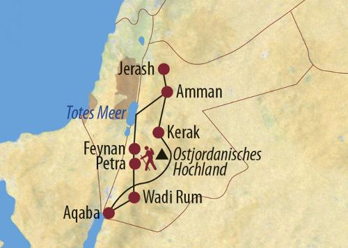 Jordanien: Karte und Tourenverlauf Trekkingtouren in Dana, Petra, Wadi Rum