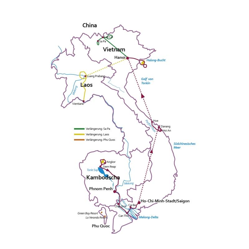 Vietnam: Karte und Tourenverlauf Kombinations-Reise Kambodscha und Vietnam