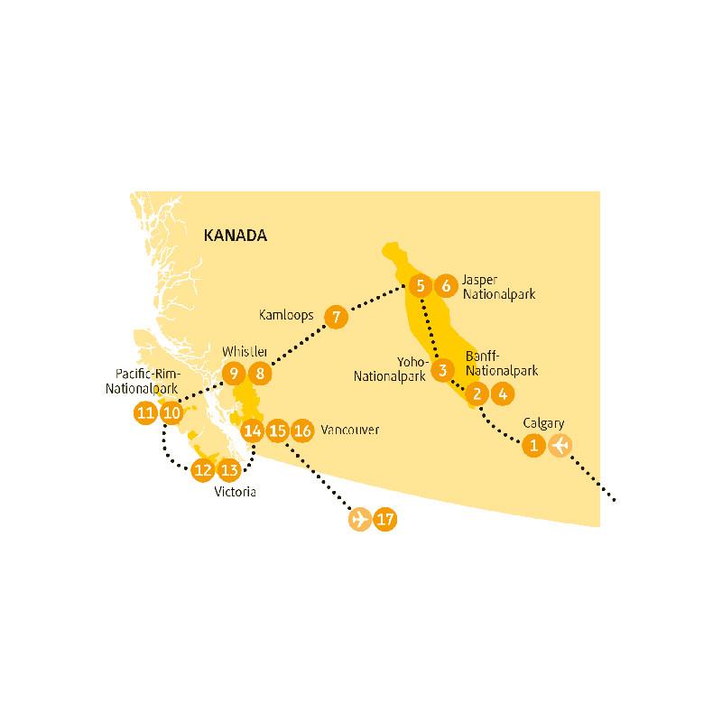 Kanada: Karte und Tourenverlauf Rundreise Rocky Mountains