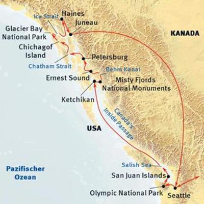 Kanada: Karte und Tourenverlauf Whale Watching in Alaska und British Columbia