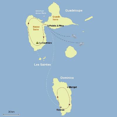 Brasilien: Karte und Tourenverlauf Aktivreise auf die Antillen-Inseln Guadeloupe & Dominica