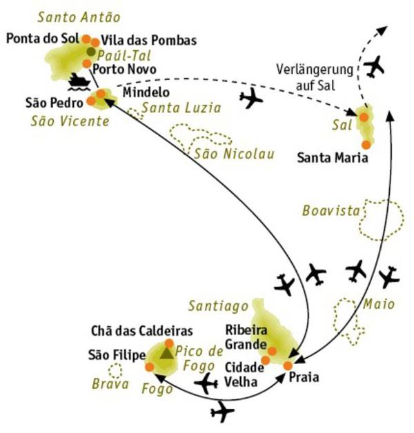 Kapverden: Karte und Tourenverlauf Vulkanlandschaften, Täler und Strandtage