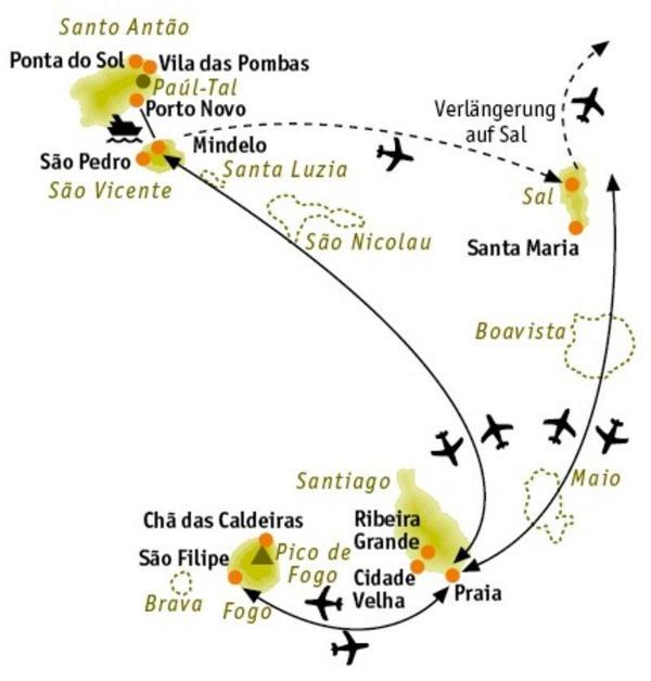 Kapverden: Karte und Tourenverlauf Kultur- und Natur-Wandern auf den Kapverden